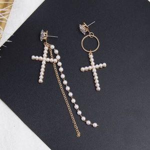 Rhinestone Asymmetry Pearl Cross Long Earrings